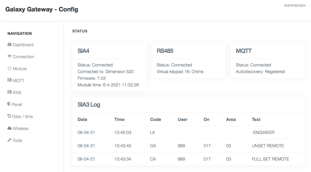 Galaxy Gateway web interface overview for all settings from RS485, SIA4 control and date time synchronisation