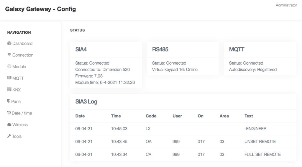 Screenshot of the web interface